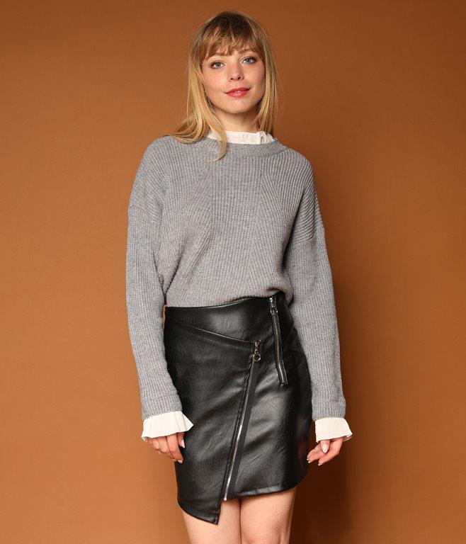 Mini jupe en simili avec zips