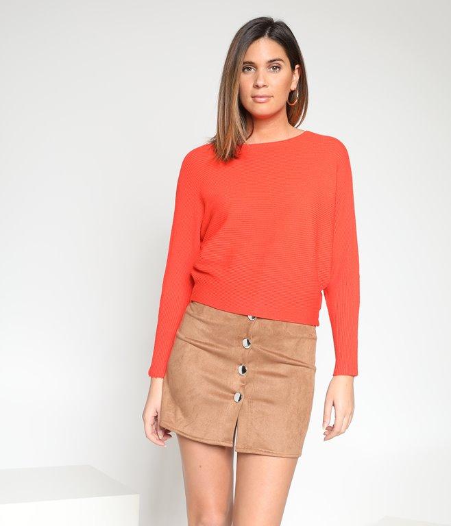 Mini jupe effet suédine à boutons