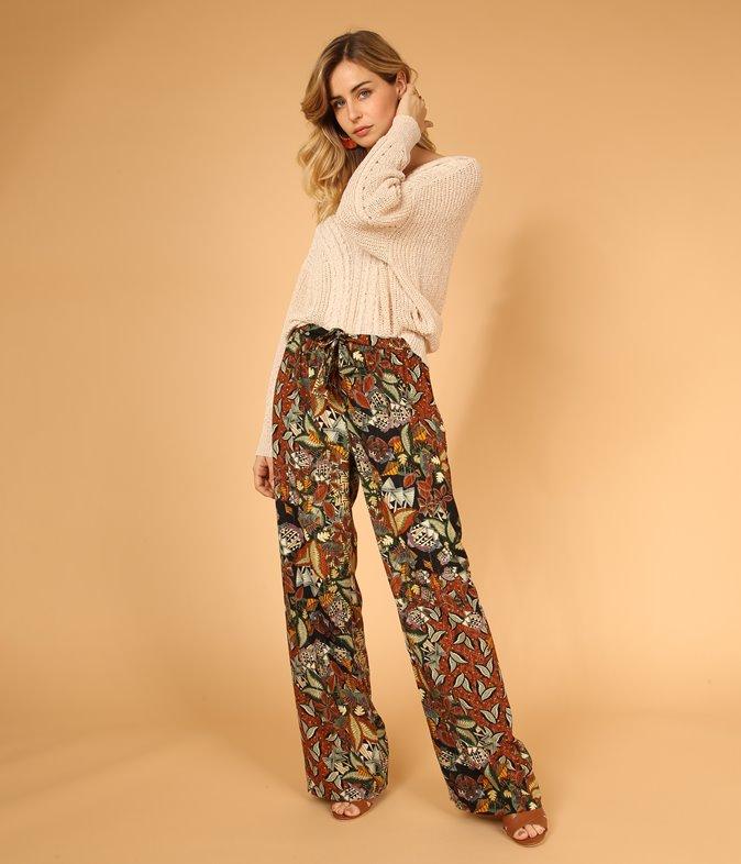 Pantalon large imprimé africain