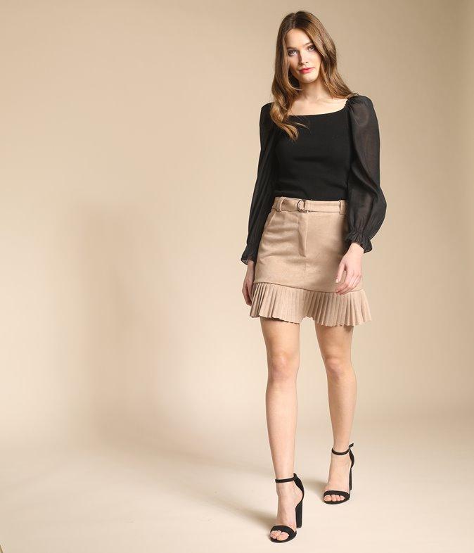 Mini jupe effet suédine