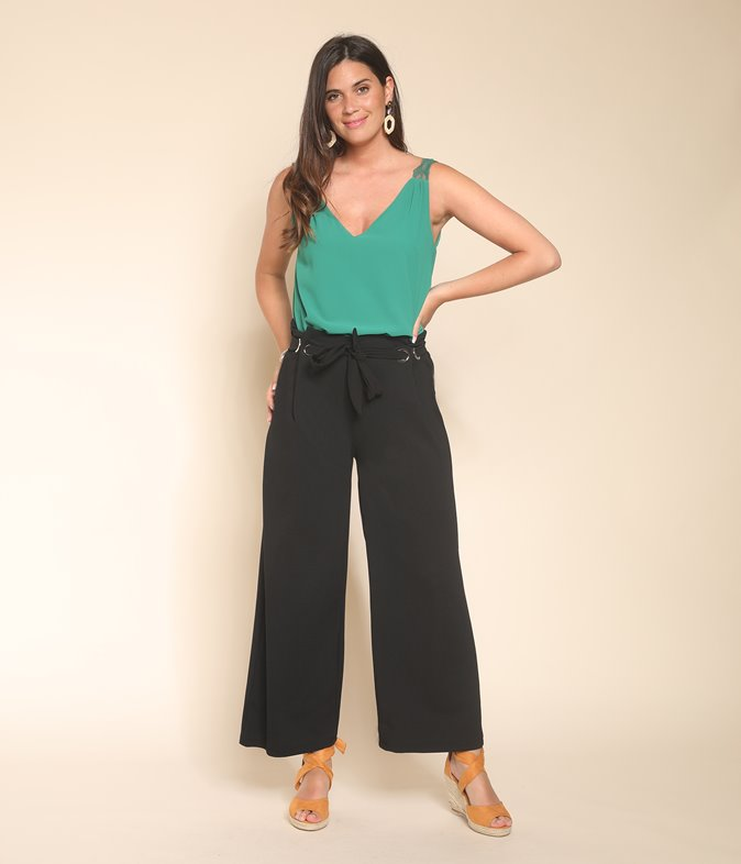 Pantalon large oeillets