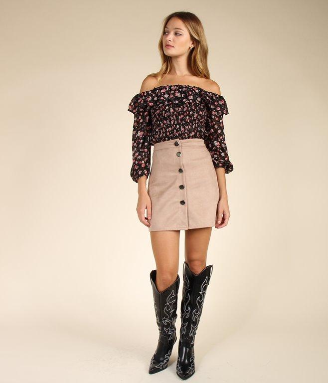 Mini jupe effet daim