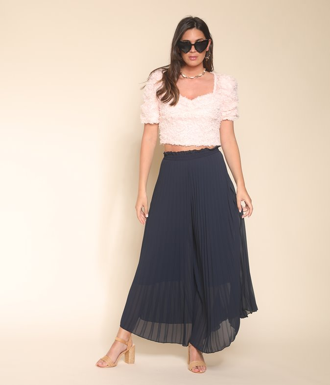 Pantalon jupe-culotte à plis