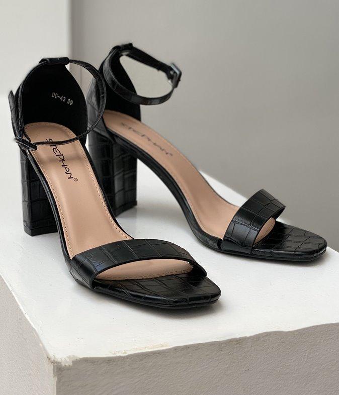 Sandales à talons effet croco