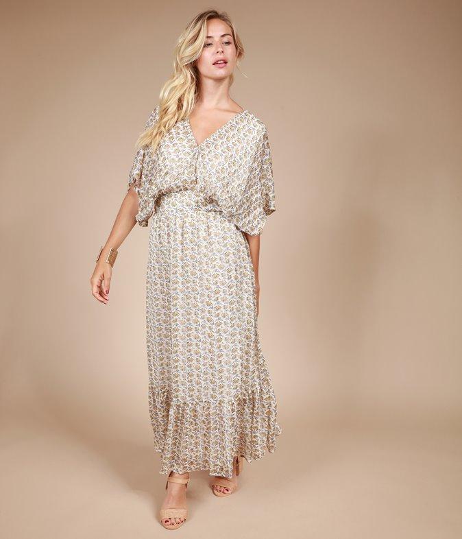 Robe longue à imprimé minimaliste