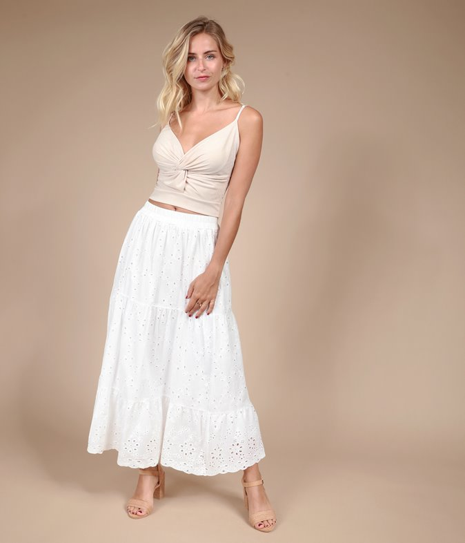 Jupe longue en broderie anglaise