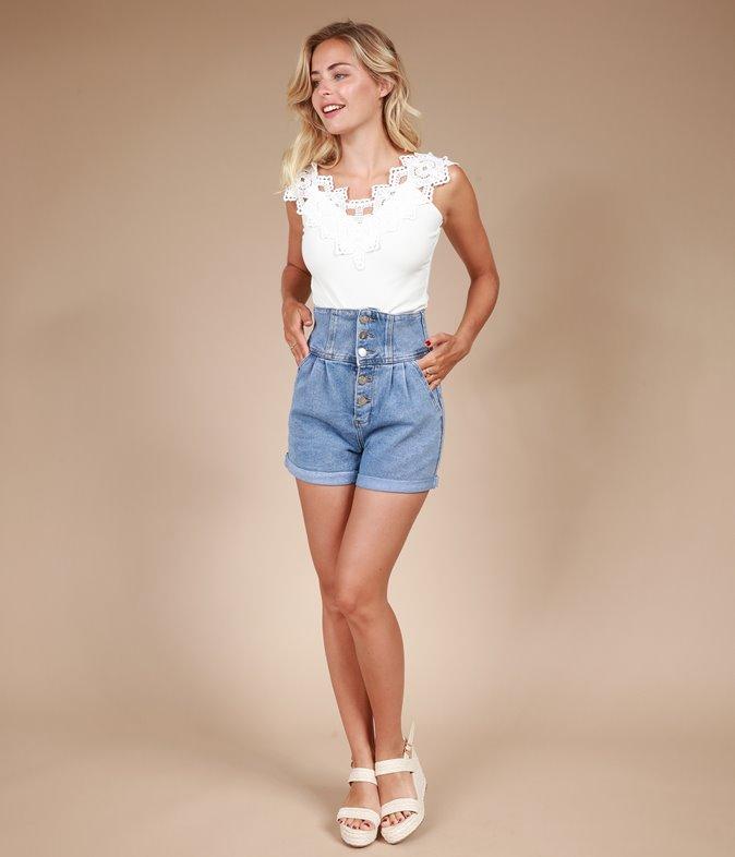 Short en jean corset