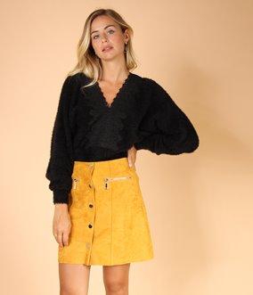 Mini jupe effet daim boutonnées