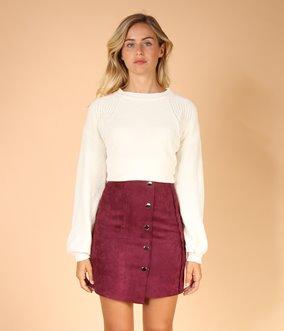 Mini jupe effet daim et boutons