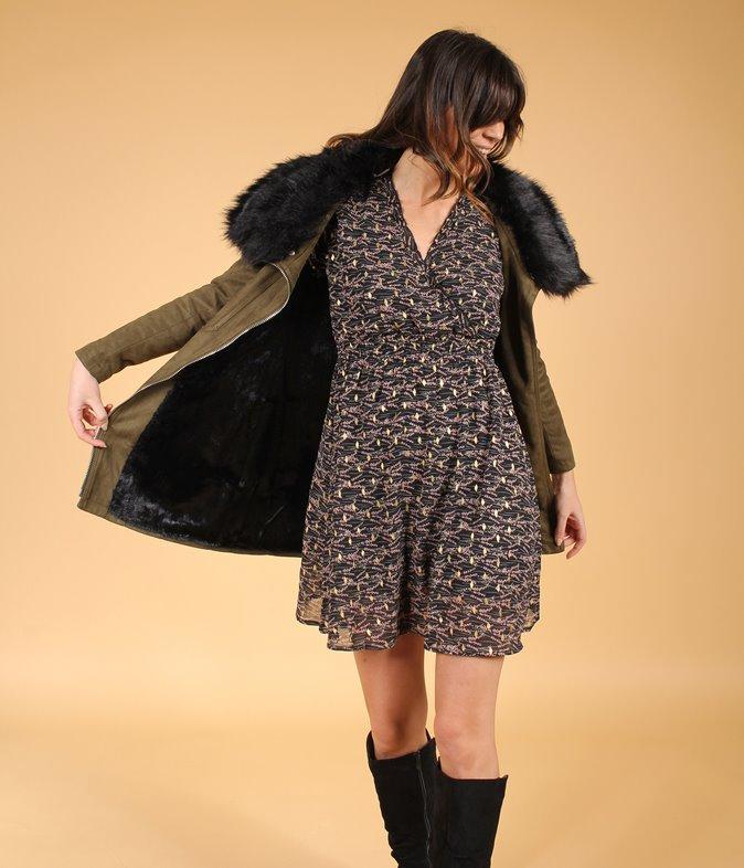 Manteau à fausse fourrure Amélia