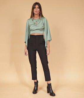Pantalon taille ajustée droit