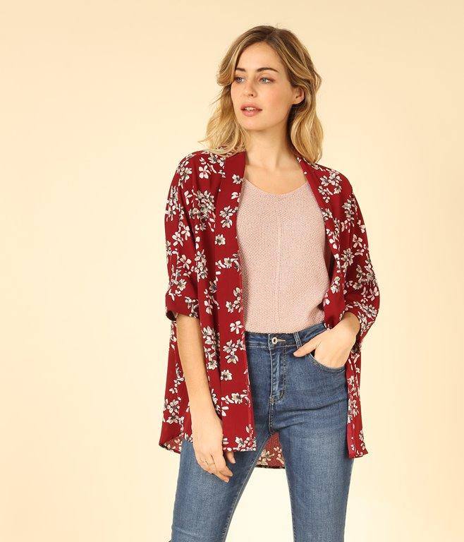 Veste kimono à imprimé fleuri