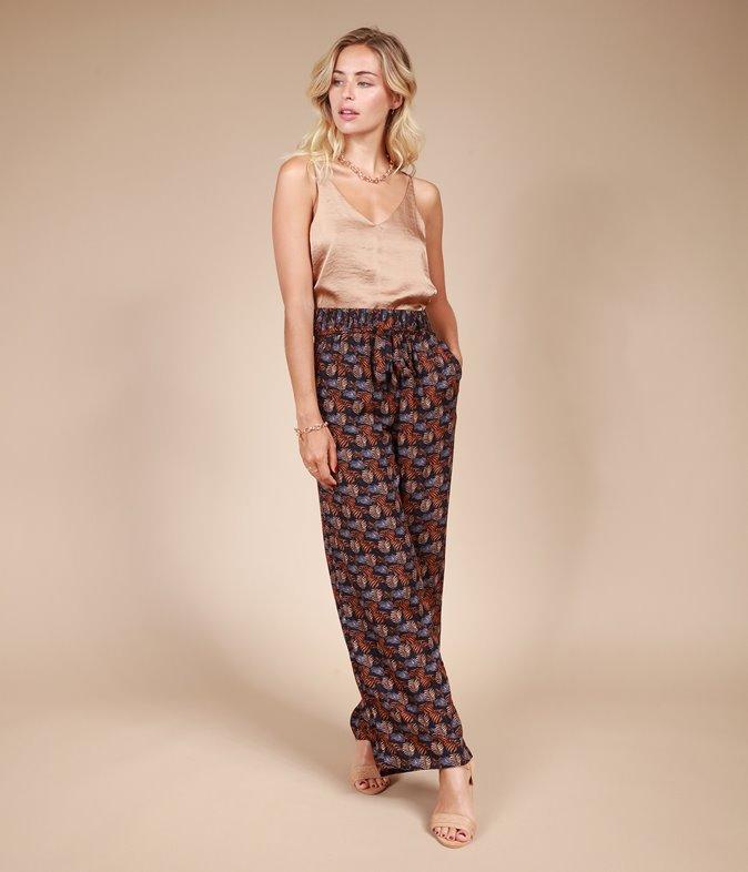 Pantalon large imprimé tropical