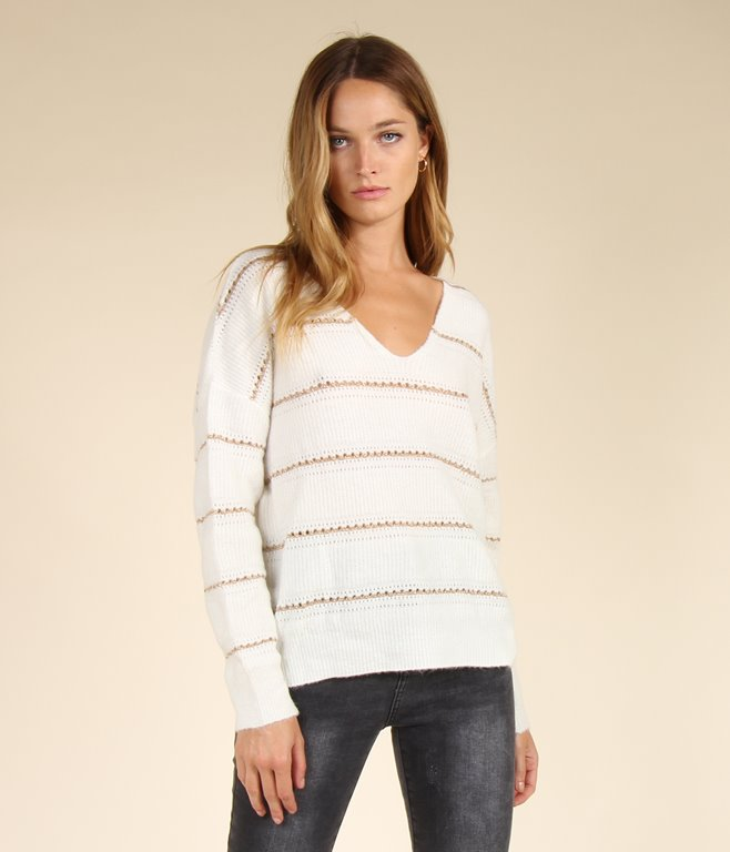 Pull ample à rayures lurex